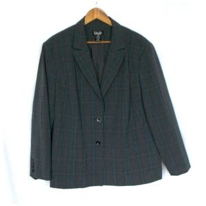 Rafaella Gray Plus Size Plaid Button Front Blazer